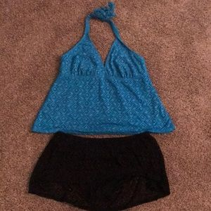 Catalina Swimsuit Two Piece Set Blue Halter Top